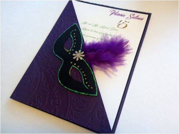 Mardi Gras Quinceanera Invitations Quinceanera Mardi Gras Invitations Sweet16 Birthday