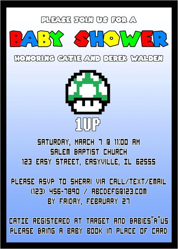 super mario baby shower invitation
