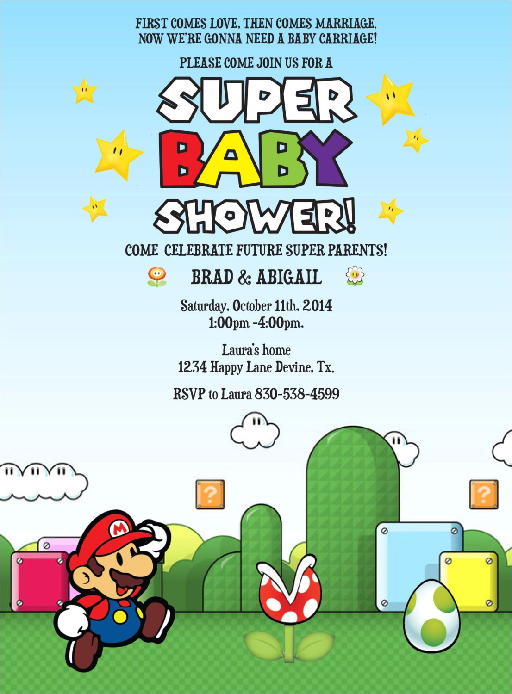 Mario Baby Shower Invitations Mario Birthday Baby Shower Boy Invitation Invite Printable