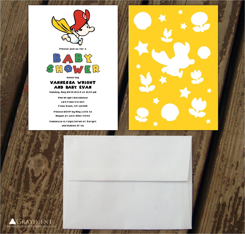 super mario baby shower invitations for