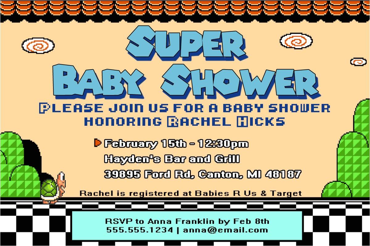 super mario baby shower invite how to