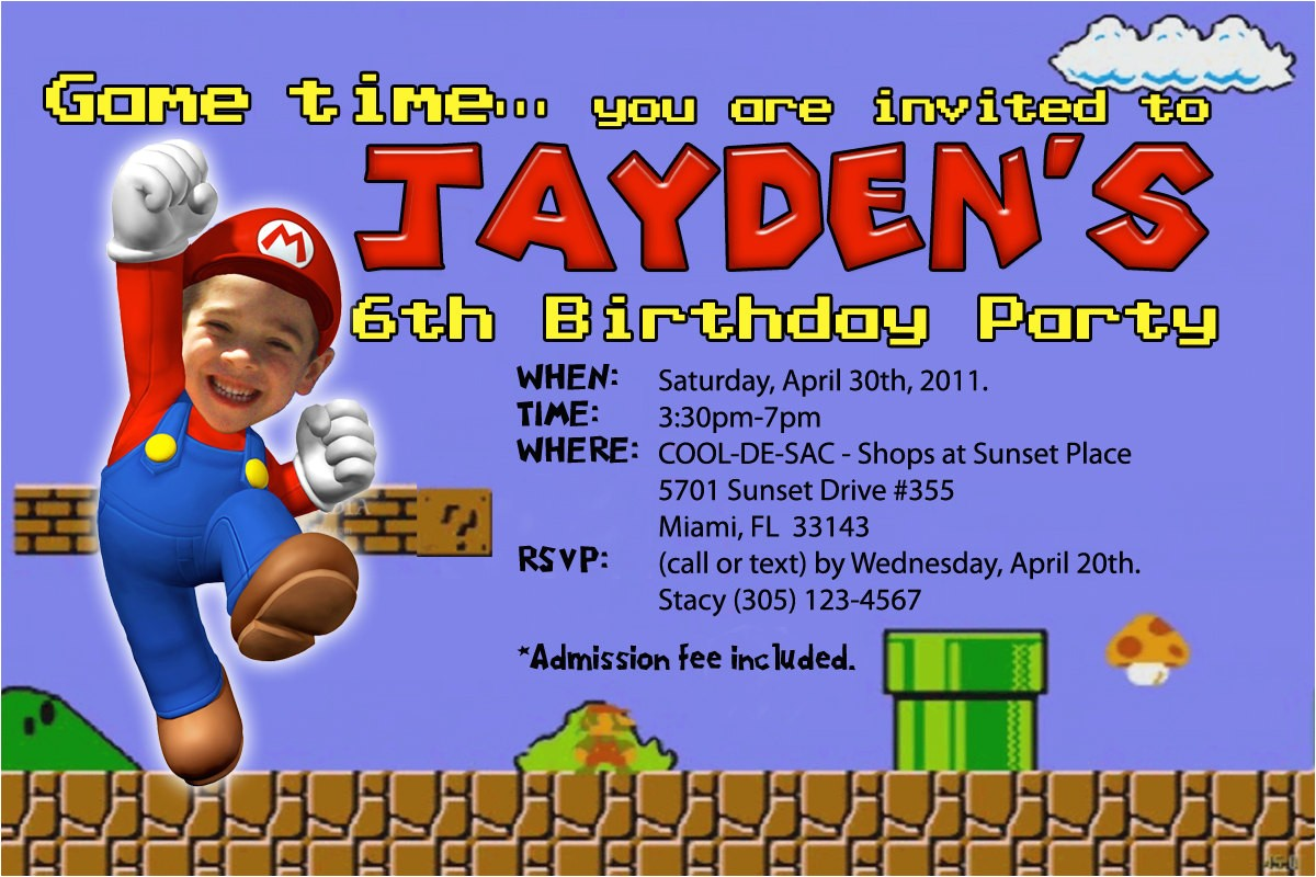 super mario birthday invitations