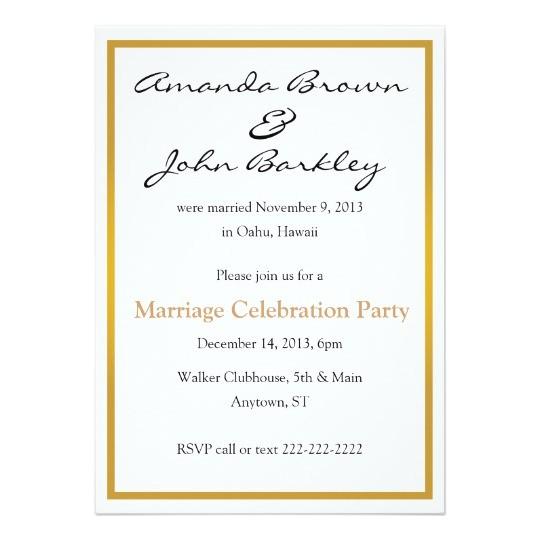 post wedding marriage celebration party invitation