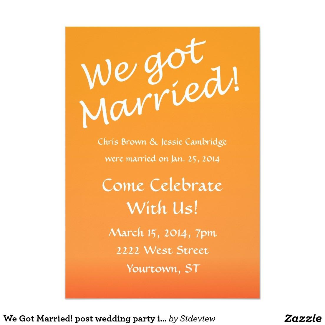 Marriage Celebration Party Invitations Post Wedding Reception Invitation Wording