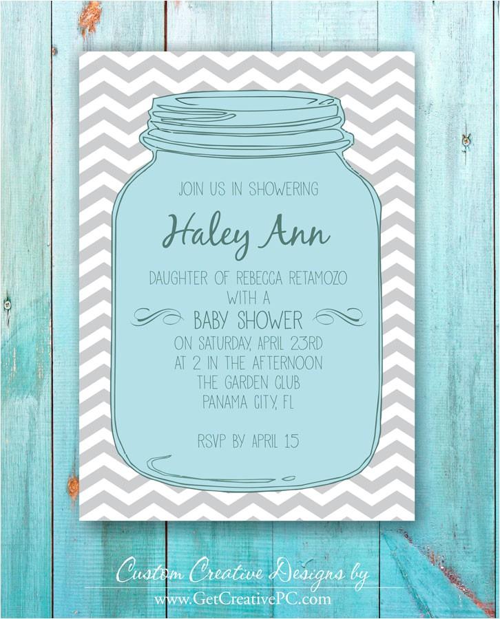 mason jar baby shower invitations