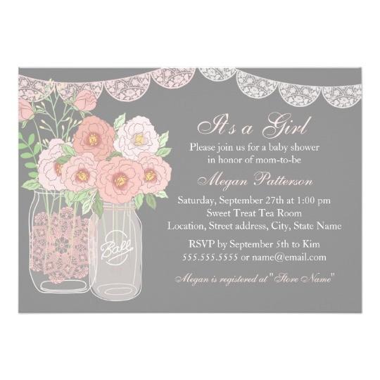 sweet mason jar pink grey baby shower invitation