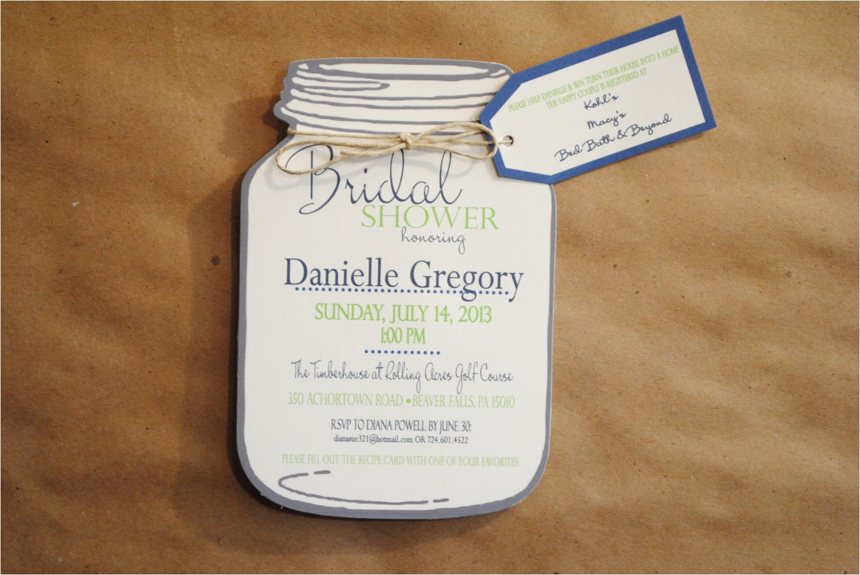 mason jar bridal shower invitations with