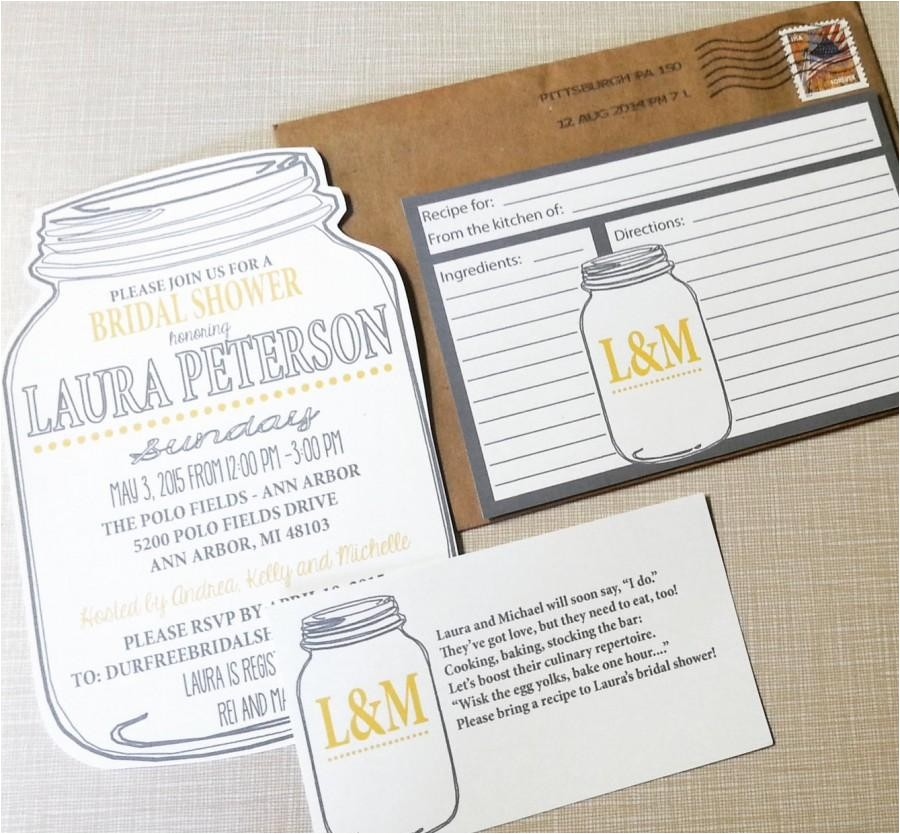 mason jar bridal shower invitations and recipe cards bridal shower invitations recipe cards
