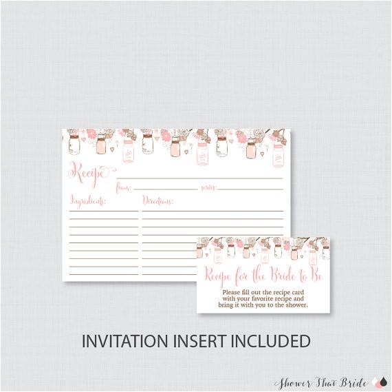 mason jar bridal shower recipe cards