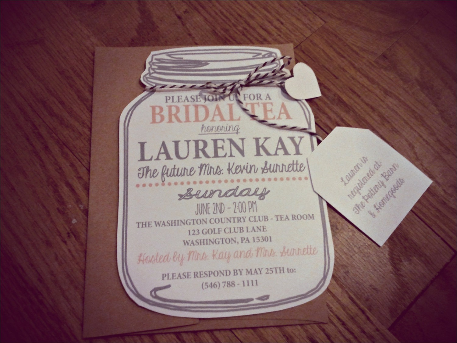 mason jar bridal tea invitation bridal
