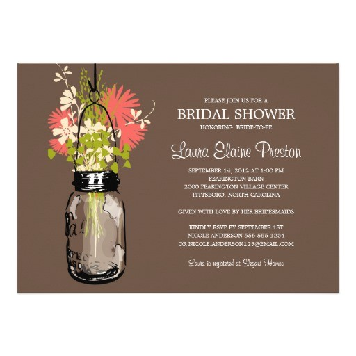 bridal shower mason jar and wildflowers invitation