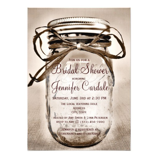 country mason jar rustic bridal shower invitations