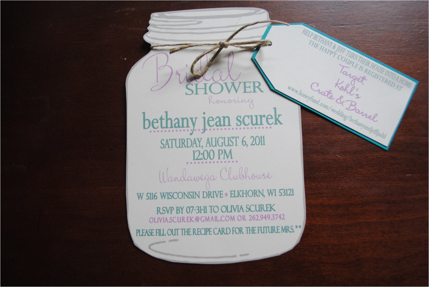 mason jar bridal shower invitations with