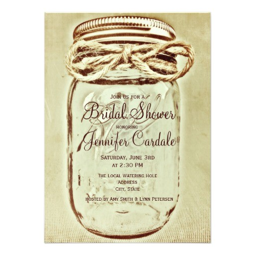 mason jar rustic country bridal shower invitations