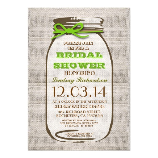 rustic burlap mason jar bridal shower invitations