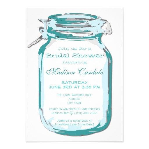 teal mason jar country bridal shower invitations