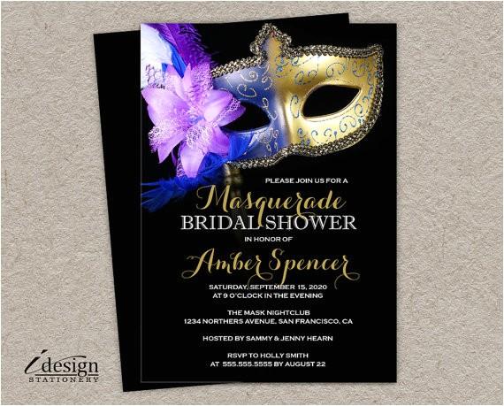 masquerade bridal shower invitation diy