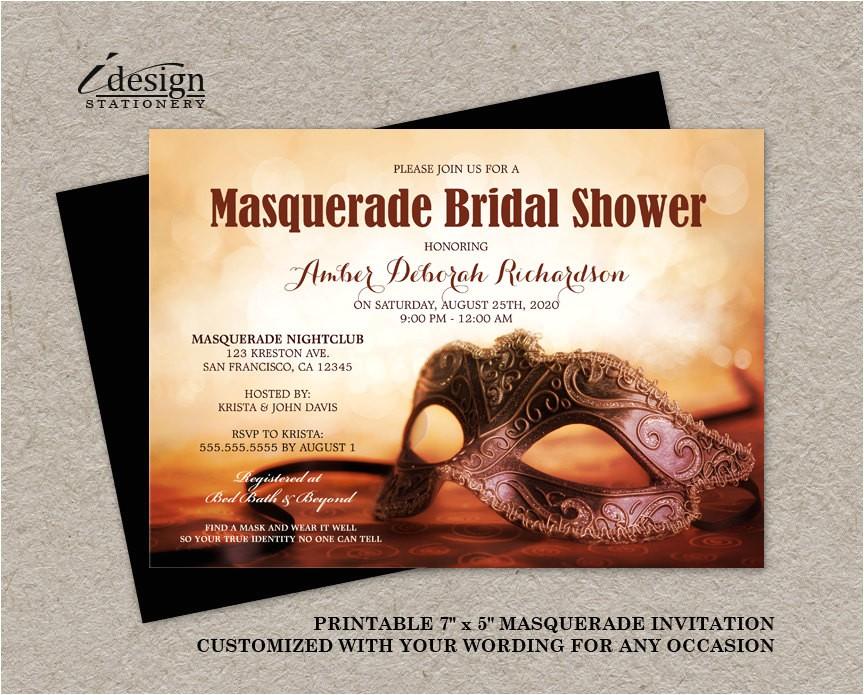 masquerade bridal shower invitation