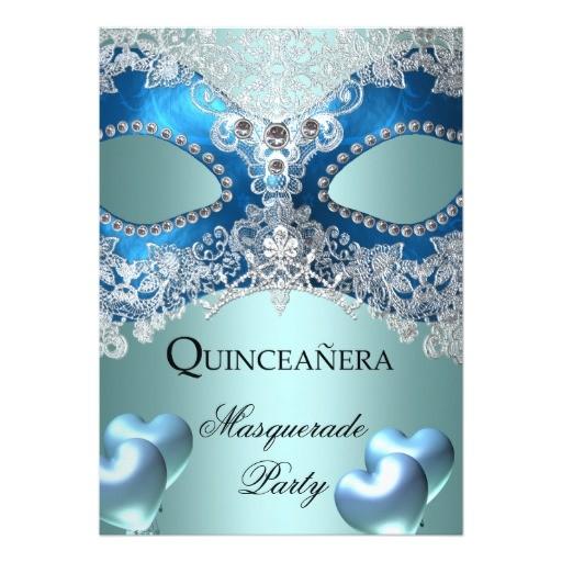 masquerade quinceanera 15 blue birthday party invitation 161320041705144267