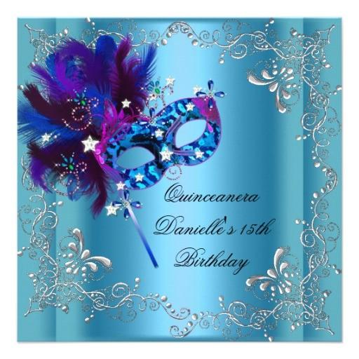 quinceanera 15th birthday party masquerade blue invitation 161982883025952361