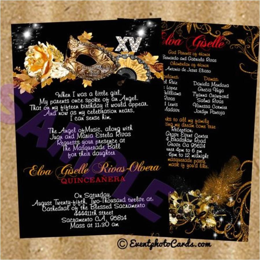 masquerade themed quinceanera invitations