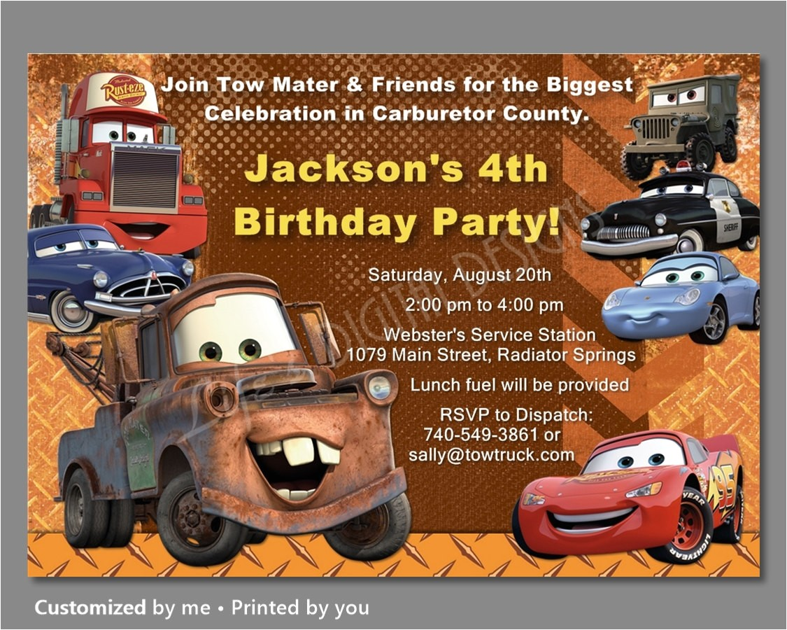 cars birthday invitation mater