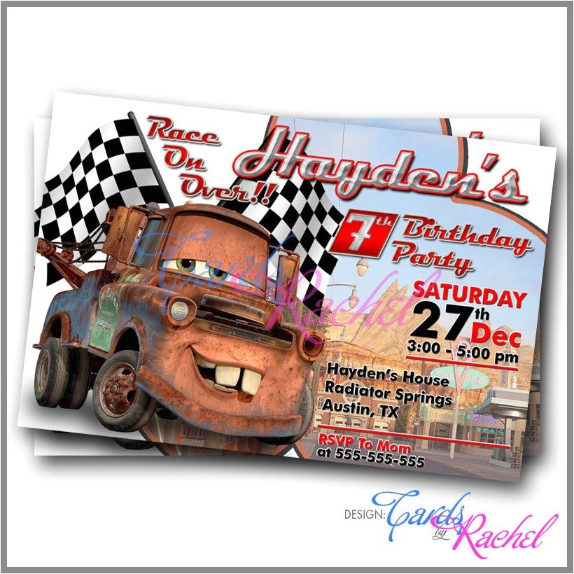 tow mater cars movie invitation card ref=shop home active 17