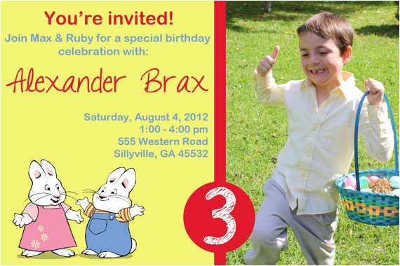 max and ruby birthday invitation