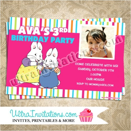 max and ruby birthday photo invitations