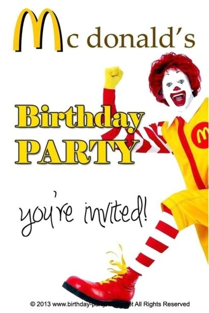 mcdonalds birthday party theme