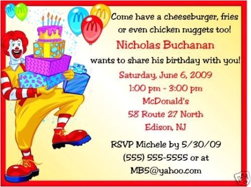 Mcdonalds Birthday Invitation Cards Mcdonalds Birthday Invitations Birthday Party Supplies