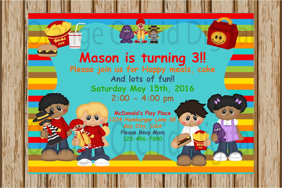 mcdonalds birthday party invitations