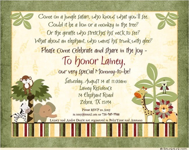 jungle safari baby shower invitations