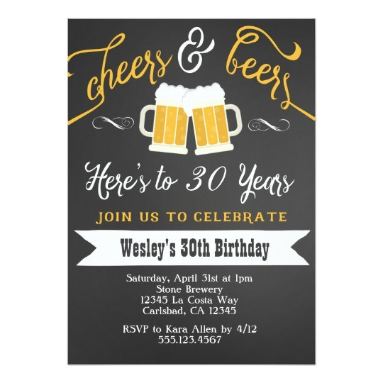 cheer and beers birthday party invitation for men 256850003054158680