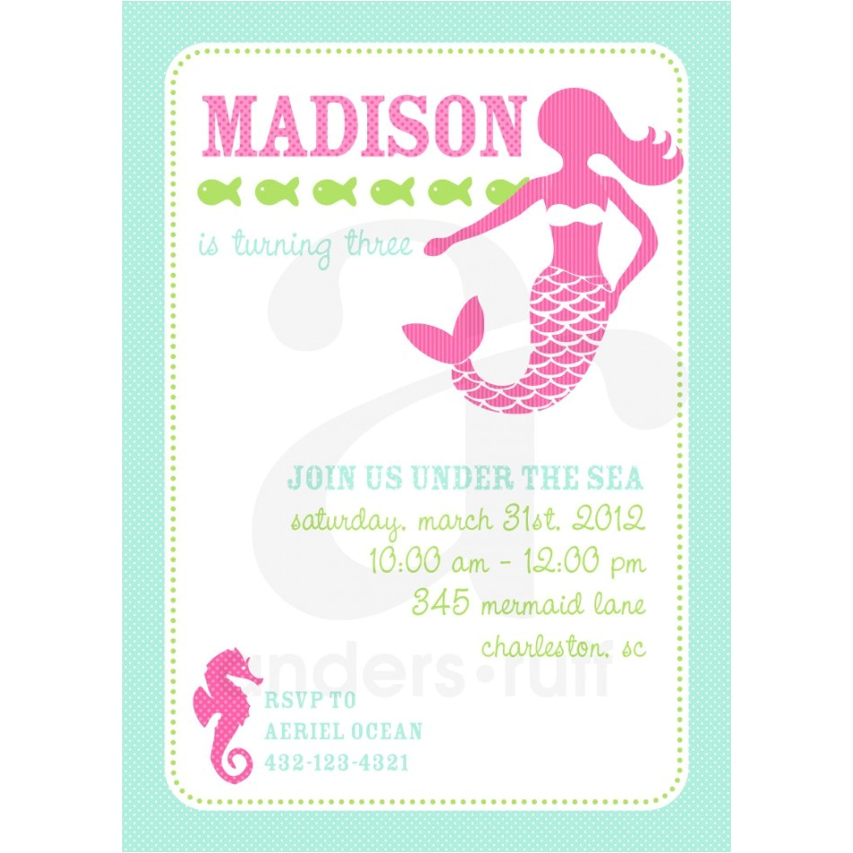 mermaid party printable invitation design