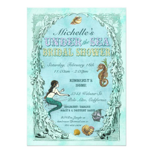 under the sea mermaid bridal shower invitation