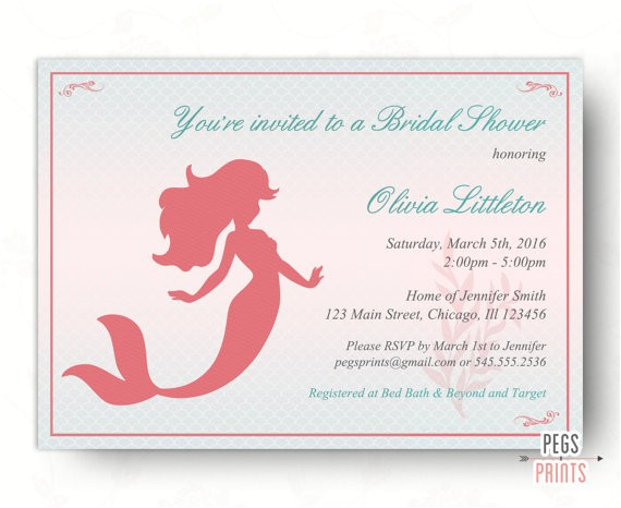 printable mermaid princess bridal shower invitation