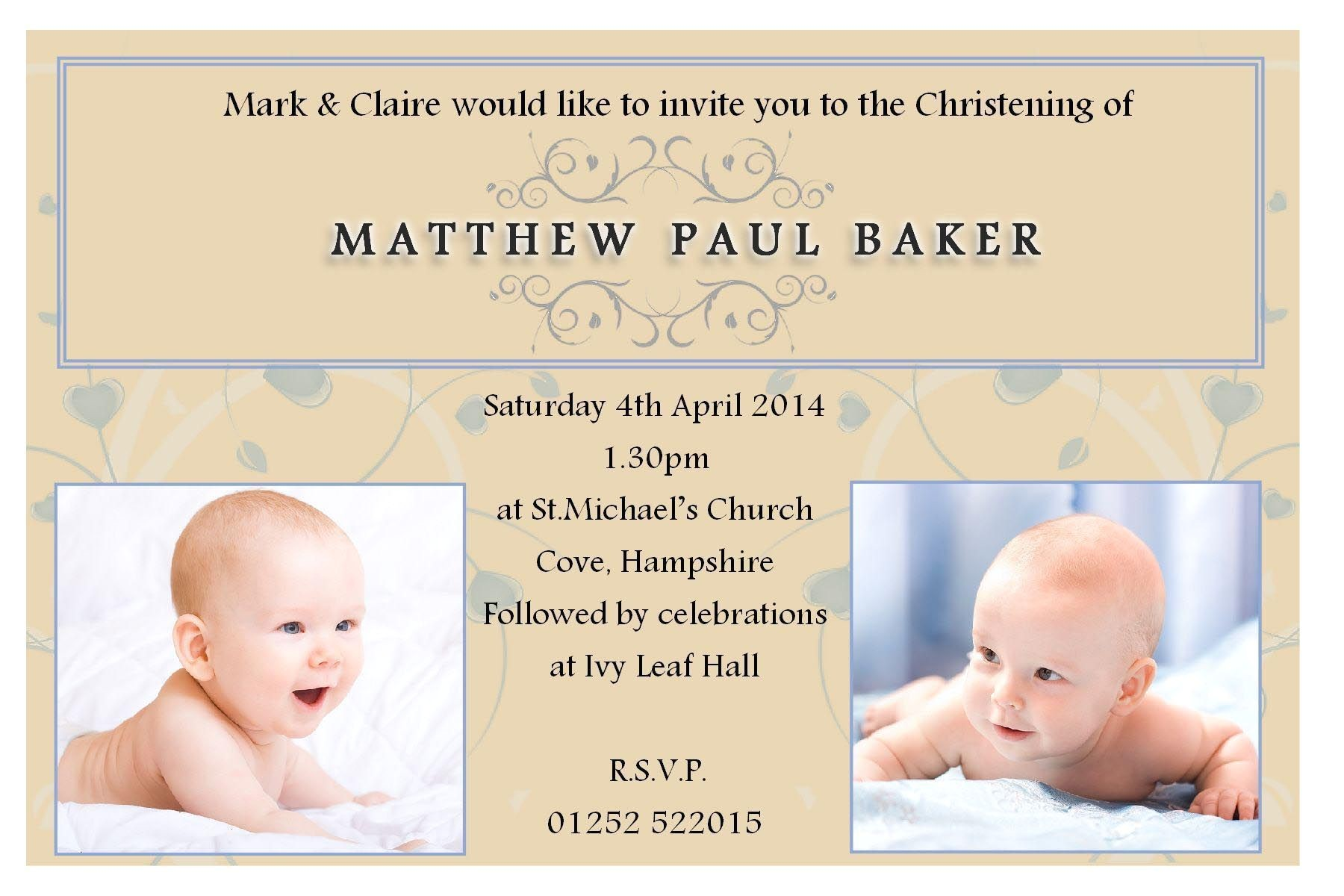 invitation card message for christening