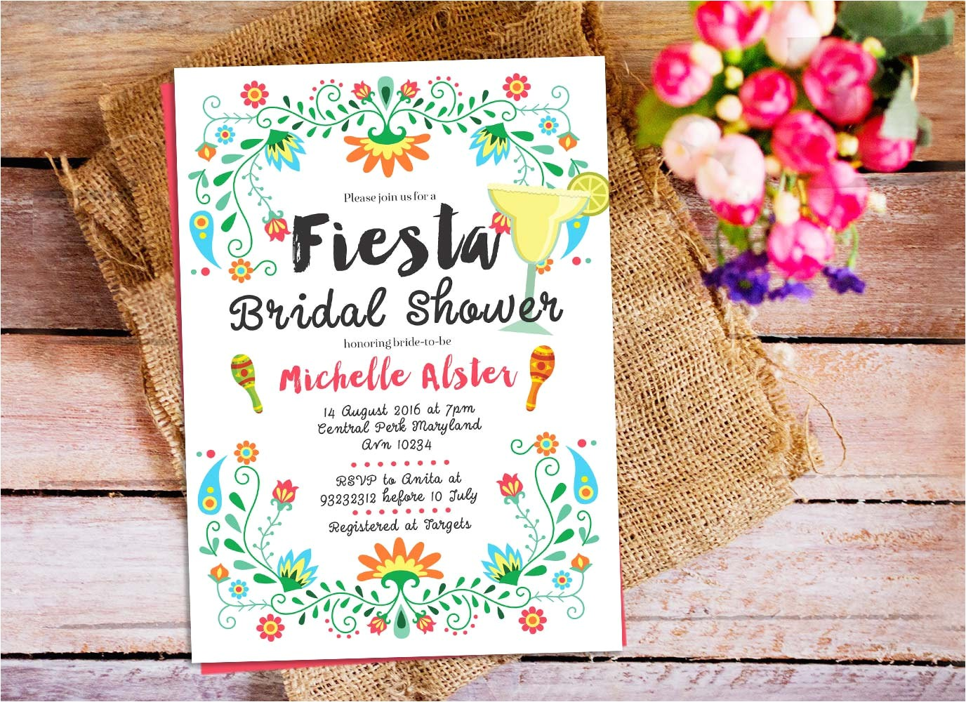 fiesta bridal shower invitation mexican