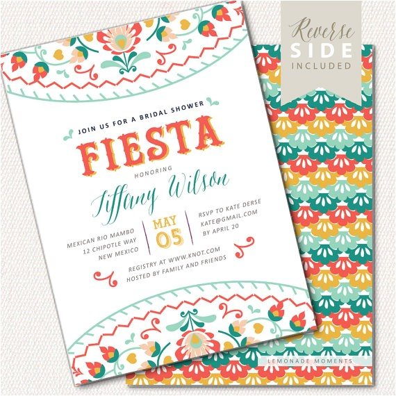 fiesta bridal shower invitation mexican shower