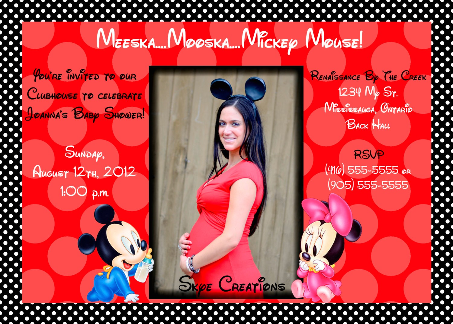 how to make minnie mouse baby shower invitations
