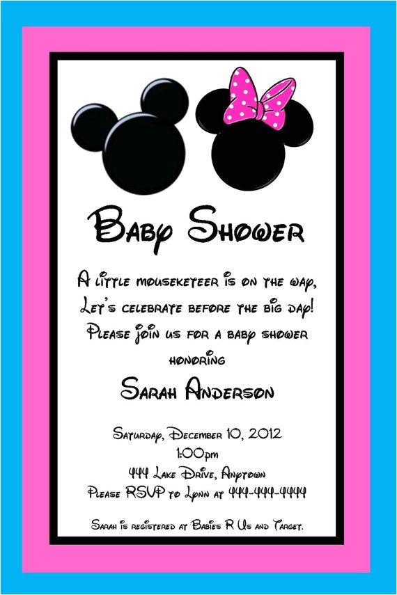 Mickey and Minnie Mouse Baby Shower Invitations Mickey and Minnie Mouse Inspired Baby Shower Invitation
