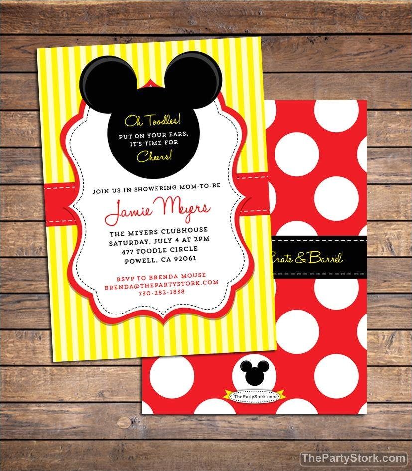 mickey mouse baby shower invitation