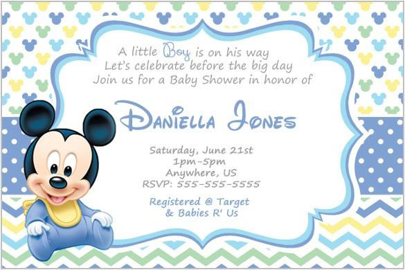 Mickey Baby Shower Invitations Mickey Mouse Invitation Templates – 26 Free Psd Vector