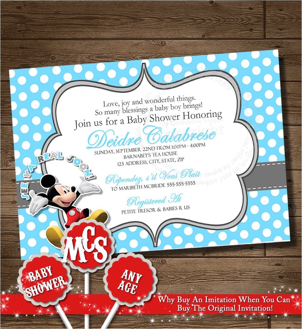 mickey baby shower invitation printable