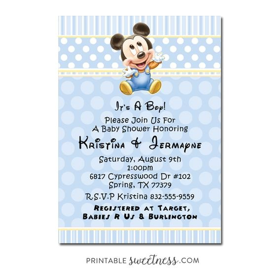 mickey mouse baby shower invitations for boys