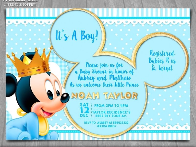 mickey baby shower invitations