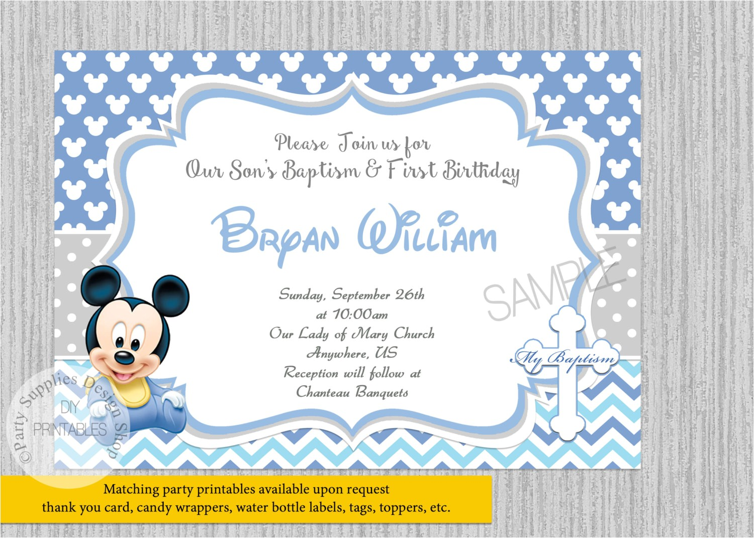 baby mickey mouse christening