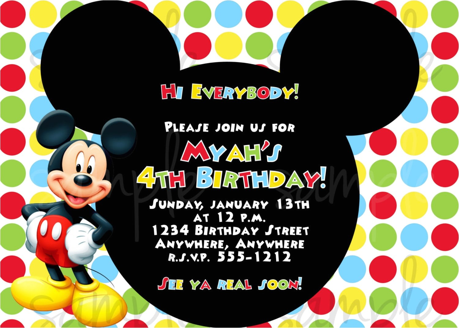 birthday invitation mickey mouse
