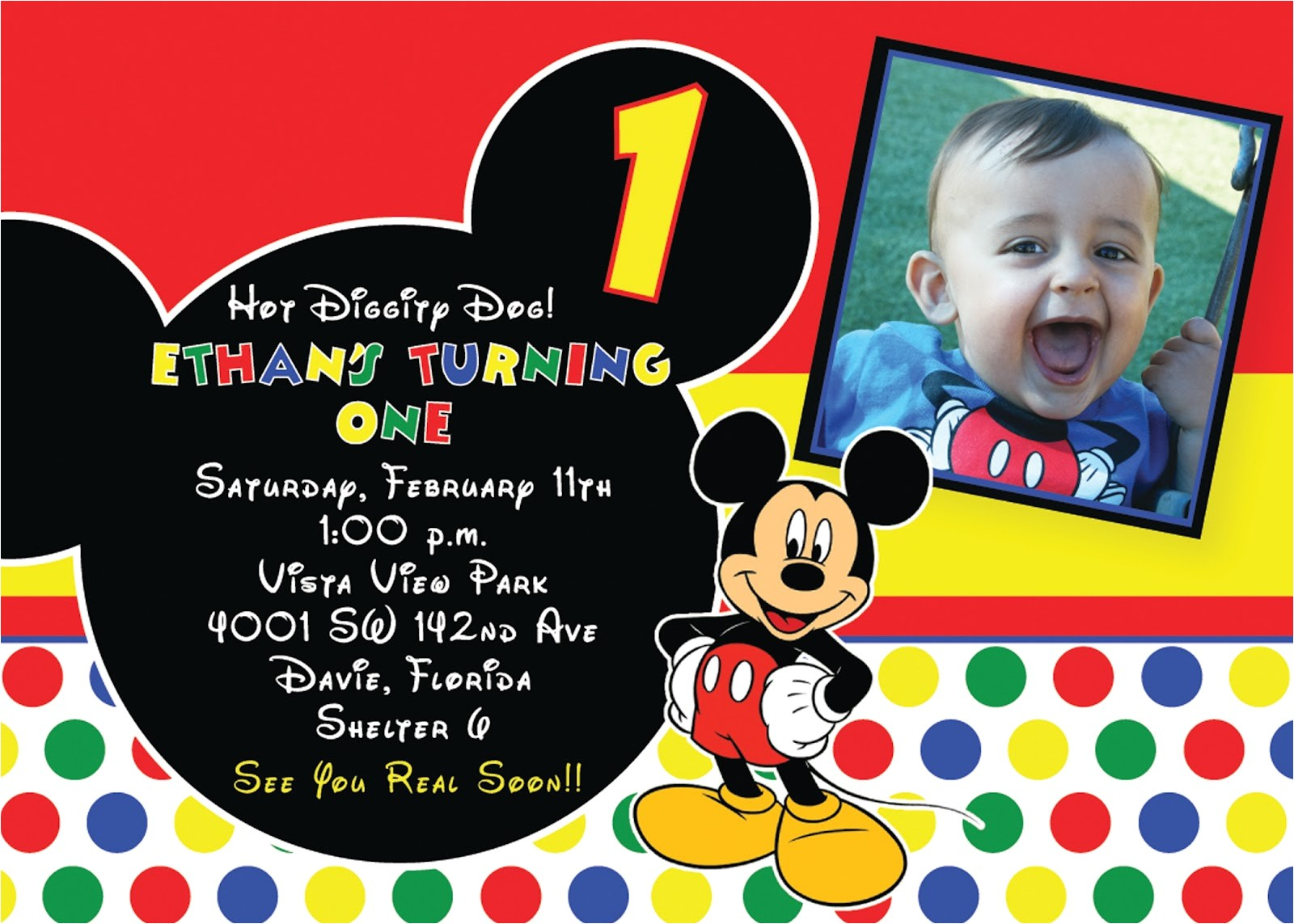 mickey mouse first birthday invitations 2